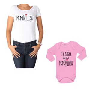 Conjunto Mamávillosa Mamá y Bebé Calambur 100% algodón Polera y Body