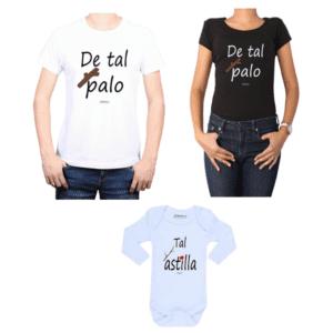 Conjunto Tal Palo Tal Astilla Papá, Mamá y Bebé Calambur 100% algodón Poleras y Body