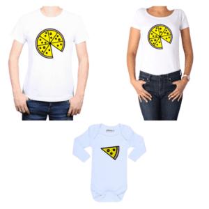 Conjunto Pizza Papá, Mamá y Bebé Calambur 100% algodón Poleras y Body