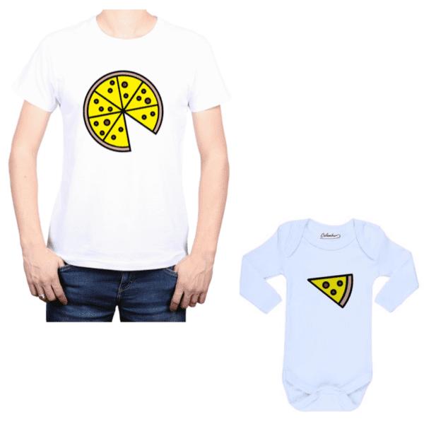 Conjunto Pizza Papá y Bebé Calambur 100% algodón Polera y Body