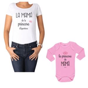 Conjunto Princesa + Nombre Mamá y Bebé Calambur 100% algodón Polera y Body