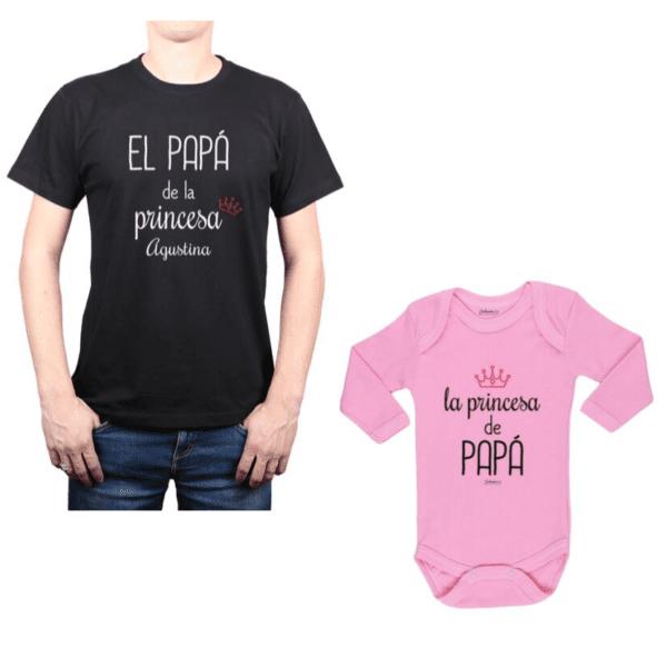 Conjunto Princesa + Nombre Papá y Bebé Calambur 100% algodón Polera y Body
