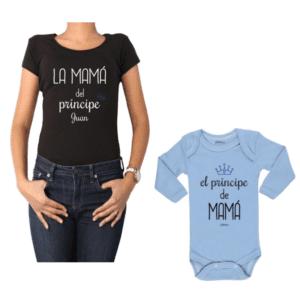 Conjunto Príncipe + Nombre Mamá y Bebé Calambur 100% algodón Polera y Body