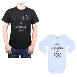 Conjunto Príncipe + Nombre Papá y Bebé Calambur 100% algodón Polera y Body