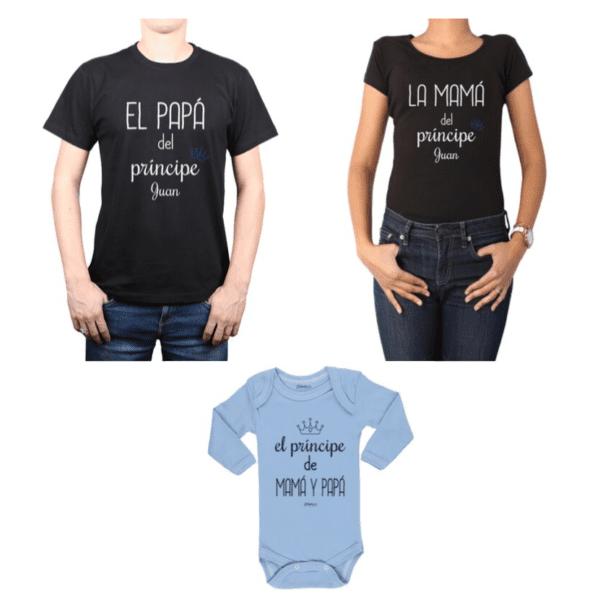 Conjunto Príncipe + Nombre Papá, Mamá y Bebé Calambur 100% algodón Poleras y Body
