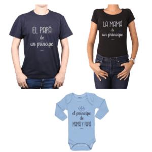 Conjunto Príncipe Papá, Mamá y Bebé Calambur 100% algodón Poleras y Body