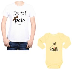 Conjunto De Tal Palo Tal Astilla Papá y Bebé Calambur 100% algodón Polera y Body