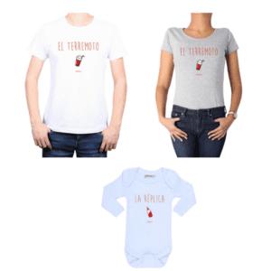 Conjunto Terremoto/Réplica Papá, Mamá y Bebé Calambur 100% algodón Poleras y Body