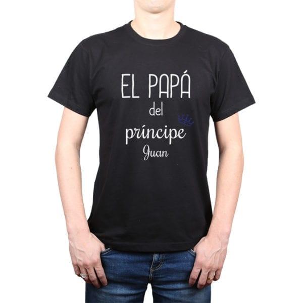 Polera Hombre Calambur 100% algodón diseño El Papá de un Príncipe + Nombre negro