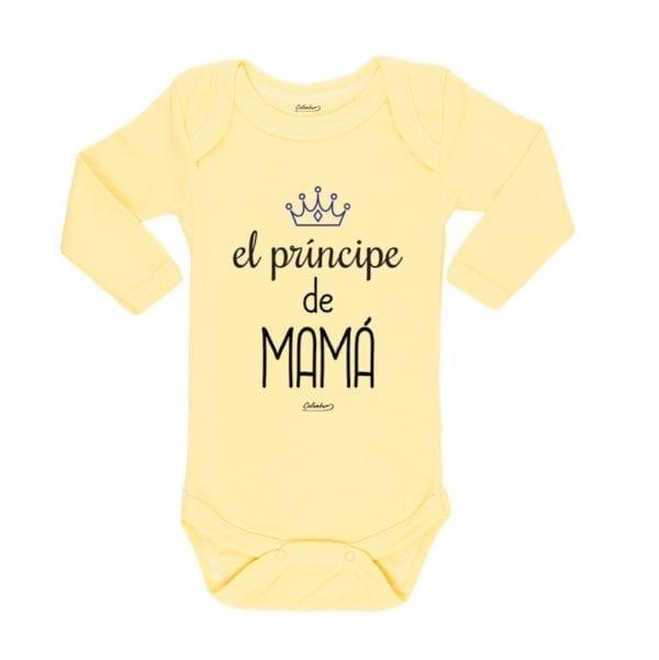 Body Pilucho Bebé Calambur 100% algodón diseño El Principe de Mamá amarillo