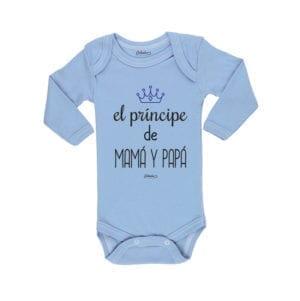 Body Pilucho Bebé Calambur 100% algodón diseño El Principe de Mamá y Papá celeste
