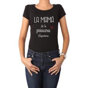 Polera Mujer Calambur 100% algodón diseño La Mamá de una Princesa + Nombre negro