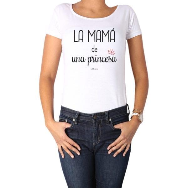 Polera Mujer Calambur 100% algodón diseño La Mamá de una princesa blanca