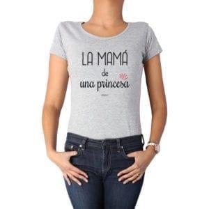 Polera Mujer Calambur 100% algodón diseño La Mamá de una princesa gris
