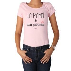 Polera Mujer Calambur 100% algodón diseño La Mamá de una princesa rosada