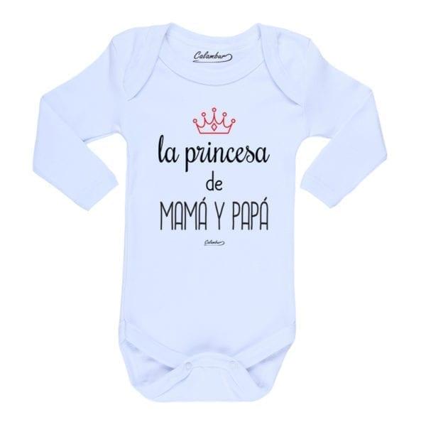 Body Pilucho Bebé Calambur 100% algodón diseño La Princesa de Mamá y Papá blanco