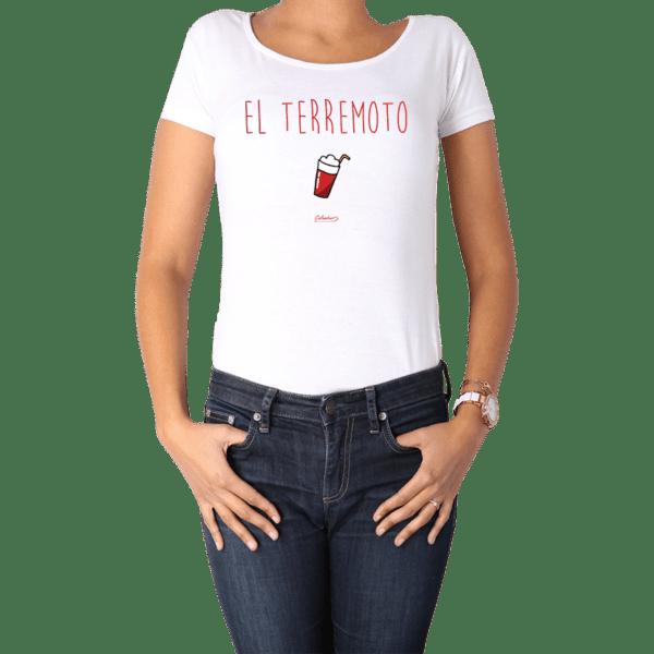 Polera Mujer Calambur 100% algodón diseño El Terremoto Blanco