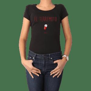 Polera Mujer Calambur 100% algodón diseño El Terremoto Negro