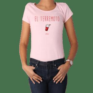 Polera Mujer Calambur 100% algodón diseño El Terremoto Rosado