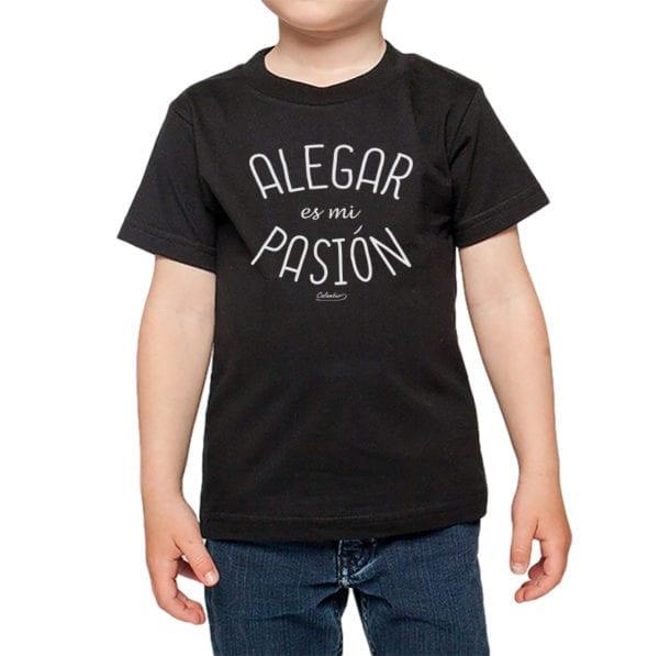 Polera niños Calambur 100% algodón diseño alegar es mi pasion negro