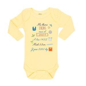 Body Pilucho Bebé Calambur 100% algodón diseño body nacimiento niño amarillo