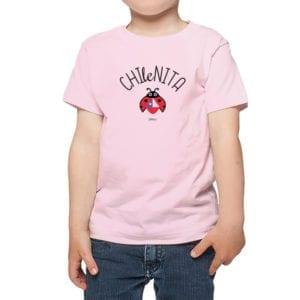 Polera niños Calambur 100% algodón diseño chilenita rosado