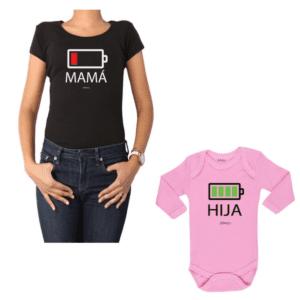 Conjunto Batería Mamá y Hija Calambur 100% algodón Polera y Body