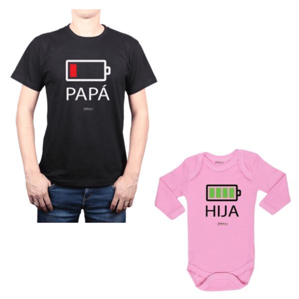 Conjunto Batería Papá y Hija Calambur 100% algodón Polera y Body