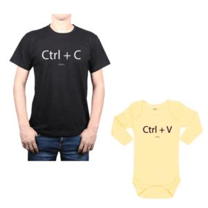 Conjunto CTRL+C CTRL+V Papá y Bebé Calambur 100% algodón Polera y Body