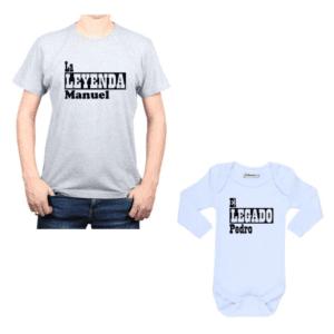 Conjunto El Legado La Leyenda + Nombres Papá y Bebé Calambur 100% algodón Polera y Body