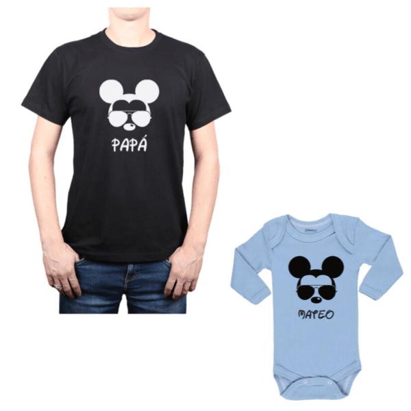 Conjunto Mickey Papá y Hijo Calambur 100% algodón Polera y Body