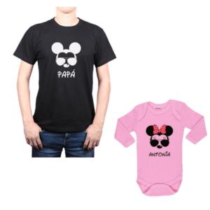 Conjunto Mickey Papá y Minnie Hija Calambur 100% algodón Polera y Body