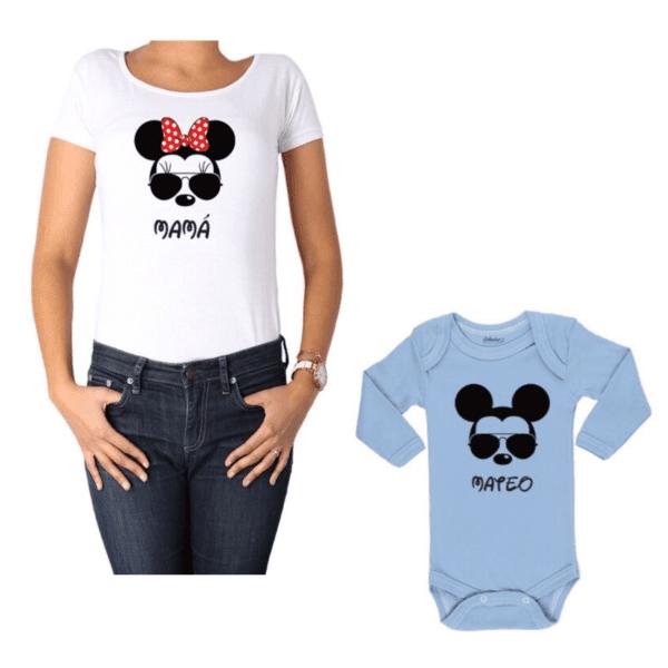 Conjunto Minnie Mamá y Mickey Hijo Calambur 100% algodón Polera y Body
