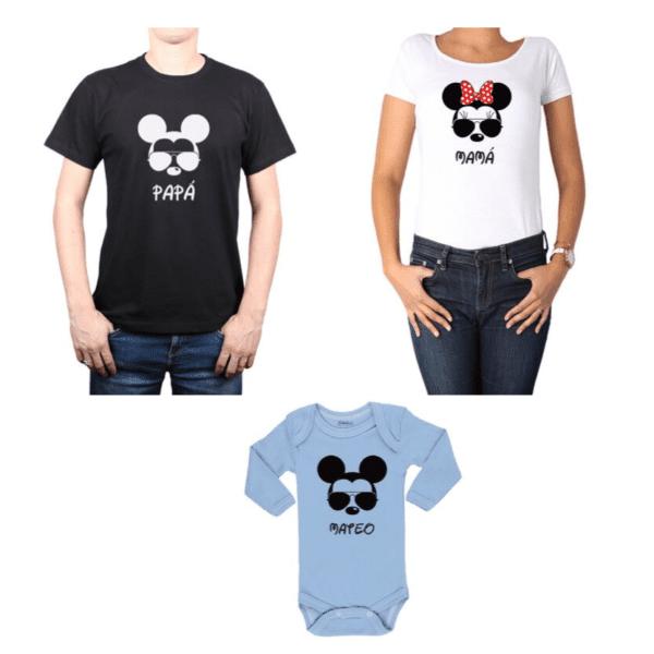Conjunto Mickey Minnie Papá, Mamá y Hijo Calambur 100% algodón Poleras y Body
