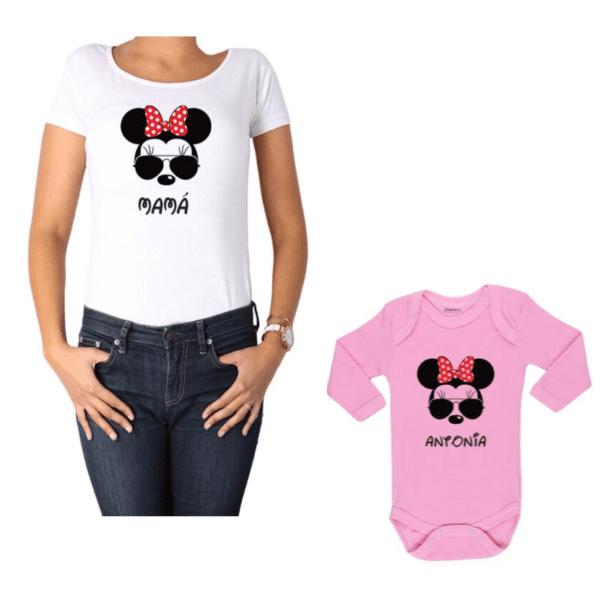Conjunto Minnie Mamá y Minnie Hija Calambur 100% algodón Polera y Body
