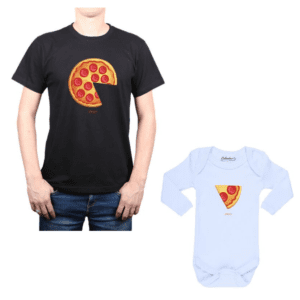 Conjunto Pizza 2 Papá y Bebé Calambur 100% algodón Polera y Body