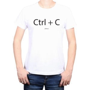 Polera Hombre Calambur 100% algodón diseño CTRL C blanco