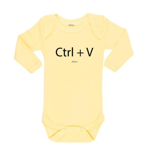 Body Pilucho Bebé Calambur 100% algodón diseño CTRL+V amarillo