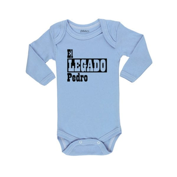 Body Pilucho Bebé Calambur 100% algodón diseño El Legado + Nombre celeste