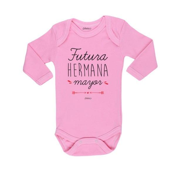 Body Pilucho Bebé Calambur 100% algodón diseño futura hermana mayor rosado