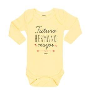Body Pilucho Bebé Calambur 100% algodón diseño futuro hermano mayor amarillo