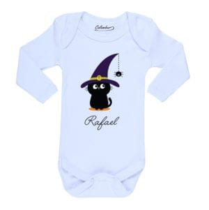 Body Pilucho Bebé Halloween Calambur 100% algodón diseño Gato + Nombre blanco