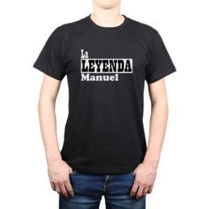 Polera Hombre Calambur 100% algodón diseño La Leyenda + Nombre negro