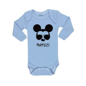 Body Pilucho Bebé Calambur 100% algodón diseño Mickey celeste
