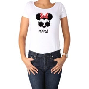 Polera Mujer Calambur 100% algodón diseño Minnie blanco