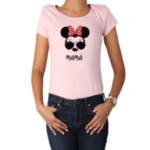 Polera Mujer Calambur 100% algodón diseño Minnie rosado