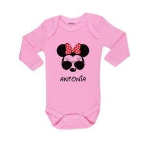 Body Pilucho Bebé Calambur 100% algodón diseño Minnie rosado