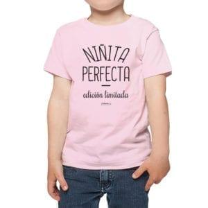 Polera niños Calambur 100% algodón diseño niñita perfecta rosado