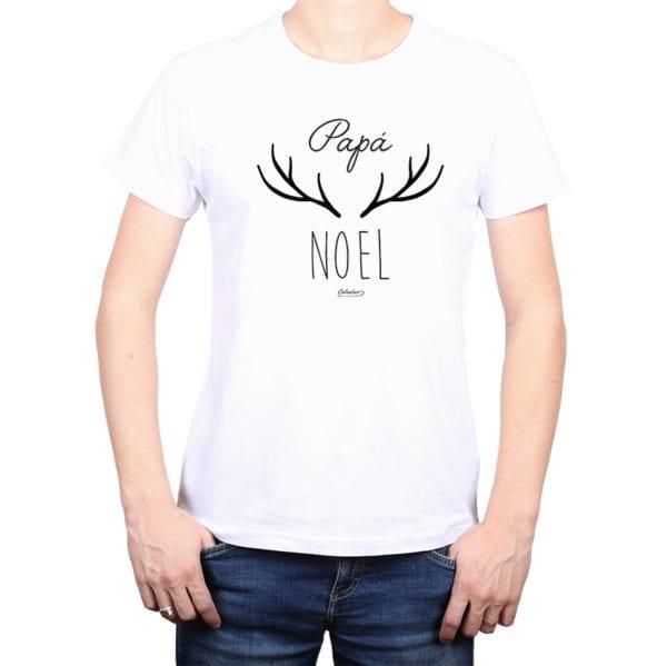 Polera Hombre Calambur 100% algodón diseño Papá Noel blanco