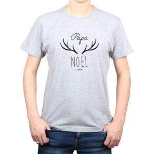 Polera Hombre Calambur 100% algodón diseño Papá Noel gris